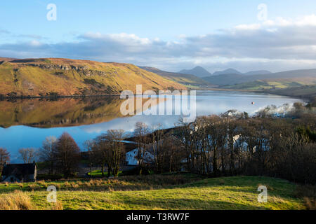 View looking over Carbost to Loch Harport on Isle of Skye, Highland Region, Scotland, UK - Stock Image