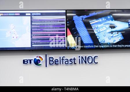 Inside BT's Network Control Centre (iNOC), Belfast, Northern Ireland, UK, United Kingdom - Stock Image
