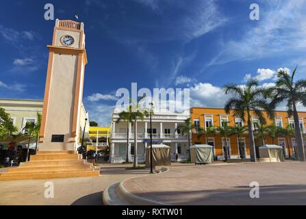 Plaza Del Sol Town Square and Tower Clock in Downtown San Miguel De Cozumel near Cruise Ship Port - Stock Image