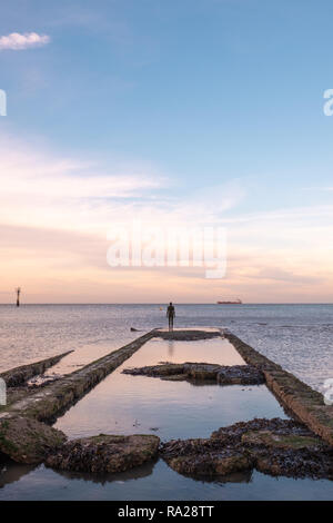 Another Time, by Anthony Gormley, Turner Contemporary Art Gallery, Margate, Kent, UK - Stock Image