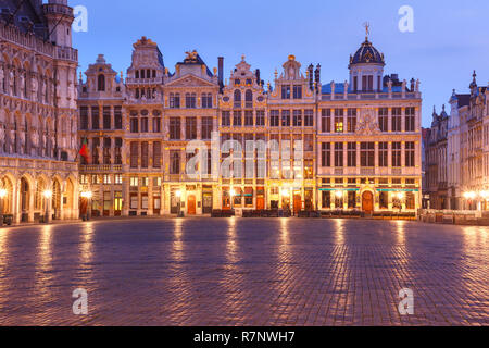 Grand Place Square at night in Brussels, Belgium - Stock Image