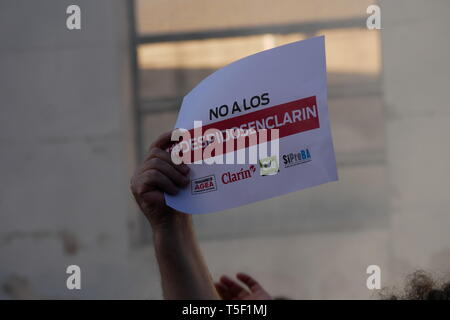 Argentina Crisis: Protest of the Clarín Newspaper (AGEA SA) employees against dismissal in Buenos Aires, Argentina. 20 April 2019. - Stock Image