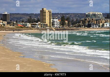 View across the beach to the Glenelg foreshore in Adelaide on a sunny day. - Stock Image
