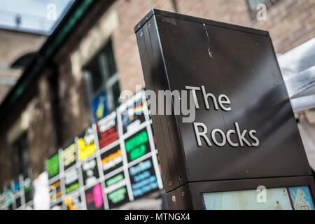 The Rocks is a neighbourhood of historic laneways in the shadow of Sydney Harbour Bridge, Sydney, New South Wales, Australia - Stock Image
