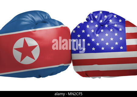 Close up of boxing gloves with North Korea and United States flag symbols isolated on white background - Stock Image