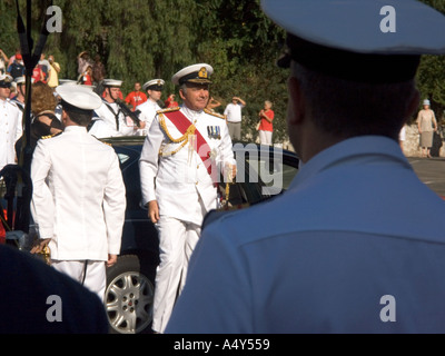 First Sea Lord Admiral Sir Alan West arriving at the Honorary Freedom of the City of Gibraltar Ceremony dignitary dignitaries - Stock Image