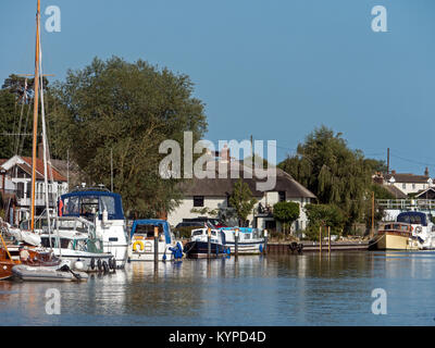 The Norfolk Broads at the picturesque Reedham Riverside, on the River Yare, Reedham, Norfolk, England, UK - Stock Image