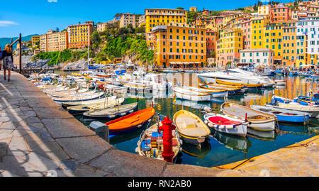 italian riviera horizontal camogli colorful village italy south europe town - Stock Image