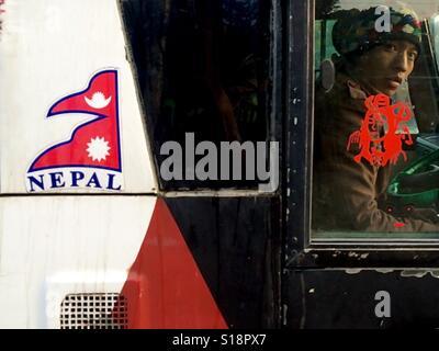 Nepali flag on a bus, Ratna Park, Kathmandu - Stock Image