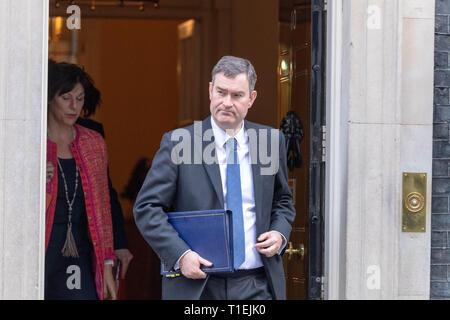 London 26th March 2019, David Gauke MP PC, Justice Secretary, leaves a Cabinet meeting at 10 Downing Street, London Credit: Ian Davidson/Alamy Live News - Stock Image