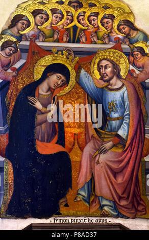 Dream of the Virgin by Simone di Filippo Benvenuti, known as Simone dei Crocifissi or Simone da Bologna (1330 - 1399), was an Italian painter. Born and dead in Bologna, Italy, Italian. - Stock Image