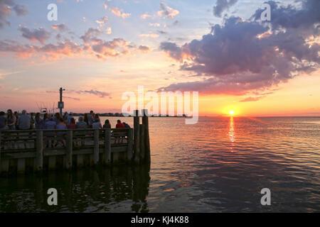 Fair Harbor sunset, Fire Island, NY, USA - Stock Image