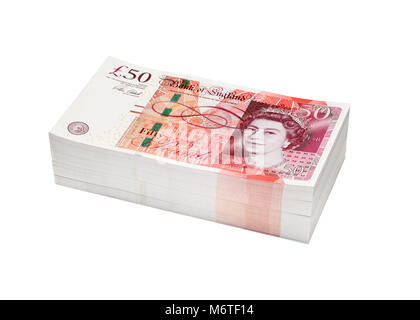 A stack or pile of money made up of fifty pound notes - Stock Image
