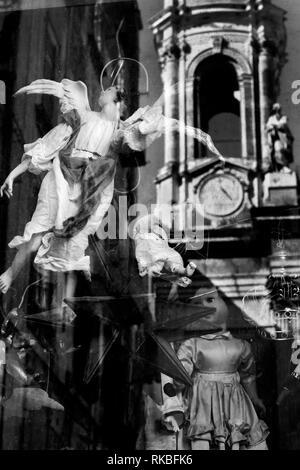 Naples, Italy. Shop window reflection - Stock Image