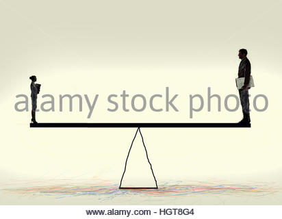 Small businesswoman and large businessman balancing on seesaw - Stock Image