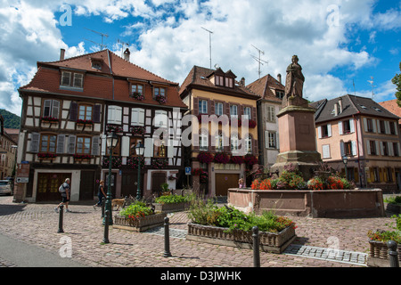 Streets of the old city center of Ribeauville, Haut-Rhin, Alsace, France - Stock Image