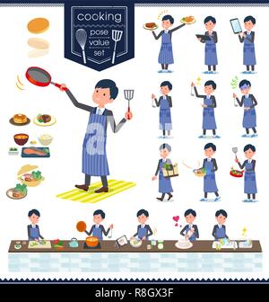 A set of businessman about cooking.There are actions that are cooking in various ways in the kitchen.It's vector art so it's easy to edit. - Stock Image