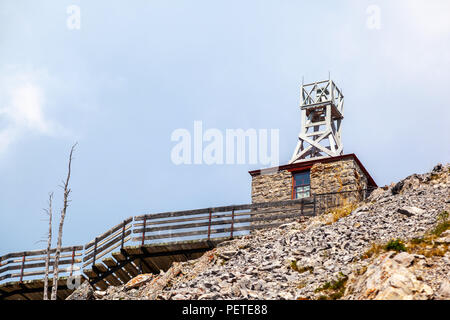 Remnants of the historic Cosmic Ray and Old Weather Station atop Sulphur Mountain on Sanson's Peak in the Canadian Rockies of Banff National Park. - Stock Image