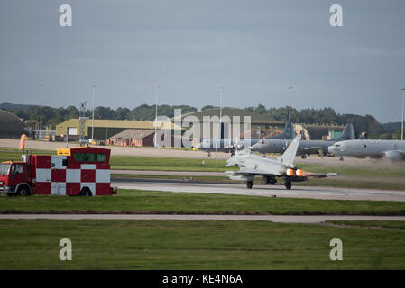 RAF  Eurofighter Typhoon aircraft operational in the Joint Warrior 2017 exercise at RAF Lossiemouth, Moray. Scotland. - Stock Image