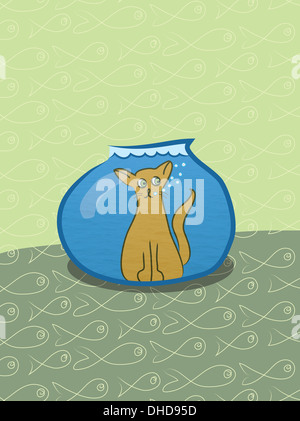 Failed hunt for fish. Surprised cat inside a fishtank. - Stock Image