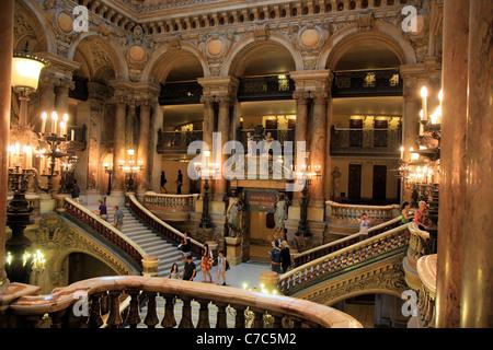 Inside view of opera Garnier, Paris, France - Stock Image