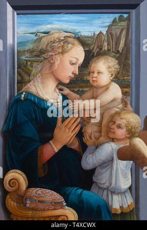 Madonna and Child with Two Angels, Filippo Lippi, 1460-1465, Galleria degli Uffizi, Uffizi Gallery, Florence, Tuscany, Italy - Stock Image