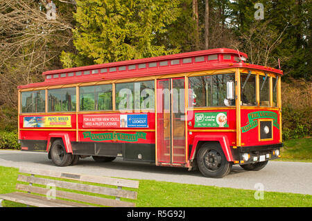 Public Transport Visitor Sightseeing Bus in Stanley Park Vancouver British Columbia Canada - Stock Image