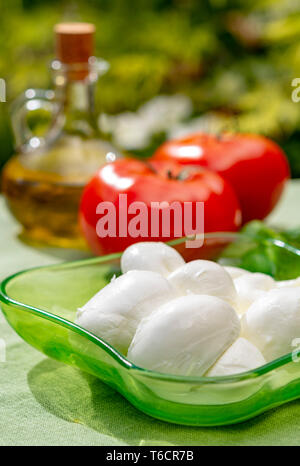 Twisted to form a plait treccia mozzarella Italian soft cheese served with fresh basil and tomatoes close up - Stock Image