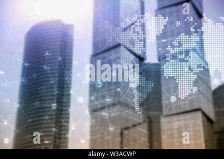 Double exposure mixed media. Diagrams, icons and relations structure on hologram screen. Business people and modern city on background - Stock Image