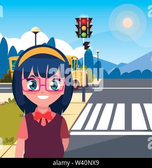 school girl with bag in the street bus vector illustration - Stock Image