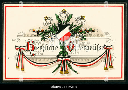Germany, Lower Saxony, Hannover, WW I, propaganda, patriotic Easter postcard with the text: 'Warmest Eastergreetings ' and black-white-red colours, postcard sent 03. 04. 1915. , Additional-Rights-Clearance-Info-Not-Available - Stock Image