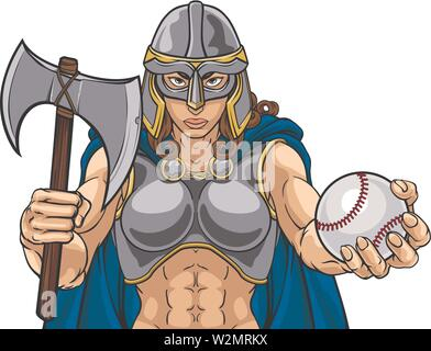 Viking Trojan Celtic Knight Baseball Warrior Woman - Stock Image