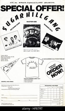 SUGAR HILL GANG Merchandise order form circa late 1970s Editorial Use Only. - Stock Image