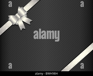 Silver ribbon on gift paper vector illustration - Stock Image