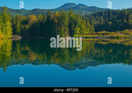 Reflections in Hayward Lake, Mission, British Columbia, Canada - Stock Image
