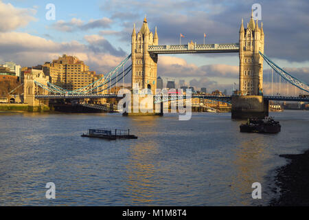Tower Bridge, one of the many bridges which span the river Thames in central London - Stock Image