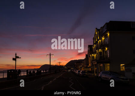 Seafront Esplande at sunset, Sidmouth, Devon, UK - Stock Image