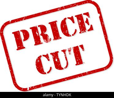 Price cut red rubber stamp vector isolated - Stock Image