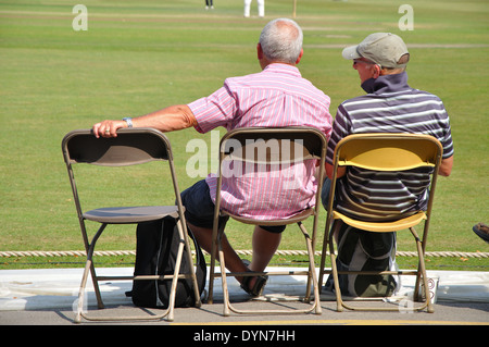 spectators watching county cricket, Derbyshire v Yorkshire, 18th July 2013 at Queens Park, Chesterfield, Derbyshire, England, UK - Stock Image