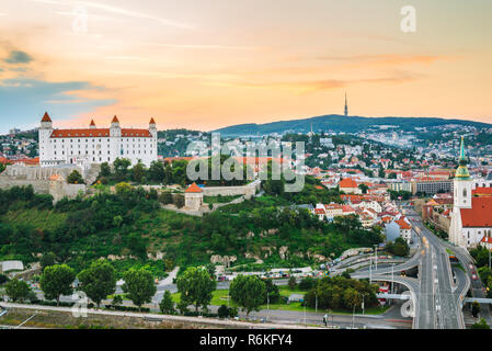 Bratislava city at twilight, Slovakia - Stock Image