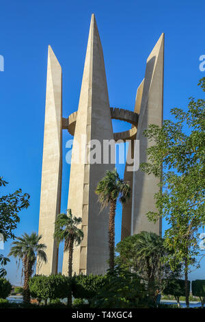 The 'Lotus Flower' tower, the Egyptian-Russian Friendship Monument, commemorating completion of the Aswan High Dam, Lake Nasser, Egypt, Africa - Stock Image