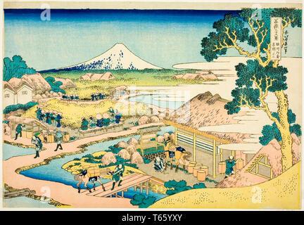 Katsushika Hokusai, The Tea Plantation of Katakura in Suruga Province, print, c. 1825-1838 - Stock Image