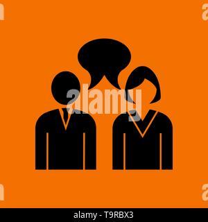 Chat Icon. Black on Orange Background. Vector Illustration. - Stock Image