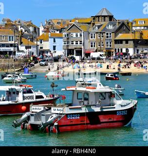 Fishing boats in St Ives Harbour,Cornwall,England,UK - Stock Image