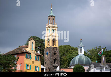 Portmeirion in North Wales, an Italianate model village built by its founder, architect Clough Williams-Ellis - Stock Image