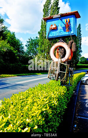 The Crab and Lobster pub sign, Asenby, North Yorkshire, England - Stock Image