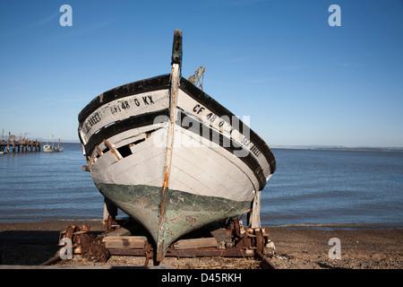 Wooden boat at China Camp State Park, San Rafael, California, USA - Stock Image