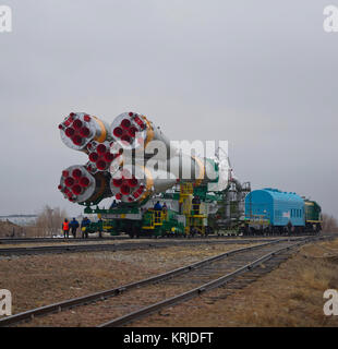 The Soyuz TMA-21 spacecraft is rolled out by train on its way to the launch pad at the Baikonur Cosmodrome in Kazakhstan, - Stock Image