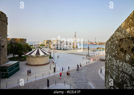 The information centre and port at St Malo, Brittany, France - Stock Image