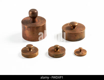 Old brass metric weights - Stock Image
